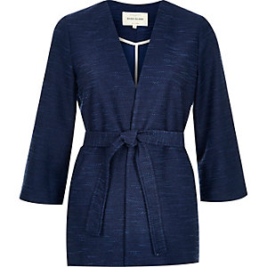 Navy jersey belted jacket