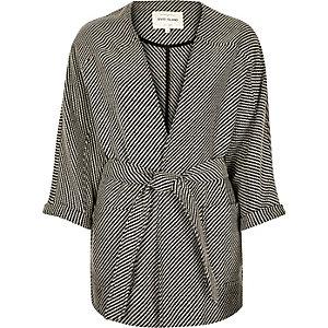 Black woven belted kimono jacket