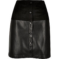 Black faux suede button-up skirt