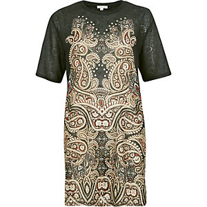 Khaki paisley print studded oversized t-shirt