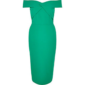 Green bardot bodycon pencil dress