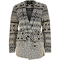 Black textured zig zag belted jacket