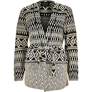 Black textured zig zag belted jacket