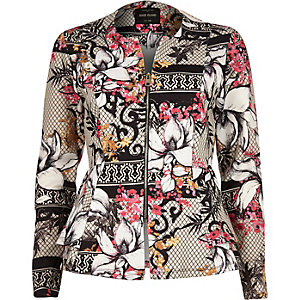 White and pink floral print peplum jacket
