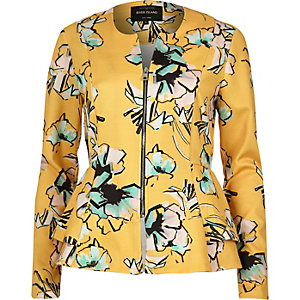 Yellow floral print peplum jacket