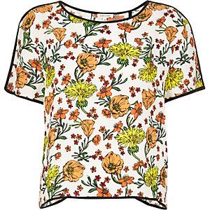 Cream floral print t-shirt
