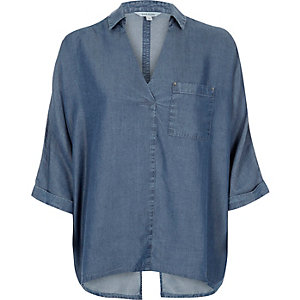 Blue denim look wrap blouse