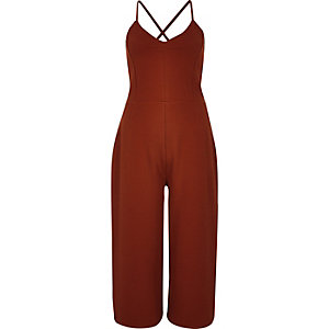 Rust brown textured culotte jumpsuit