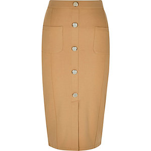 Beige jersey button split front pencil skirt