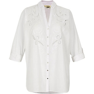 RI Plus white cutwork detail shirt