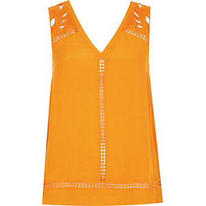 Orange embroidered tank top
