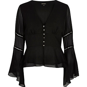 Black chiffon draped sleeve blouse