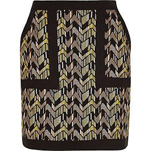 Green zig zag jacquard mini skirt