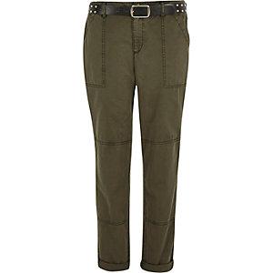 Khaki belted utility cargo pants