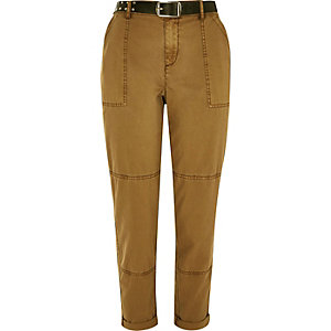 Sand brown belted utility cargo pants