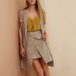 Beige RI Studio wrap D-ring mini skirt