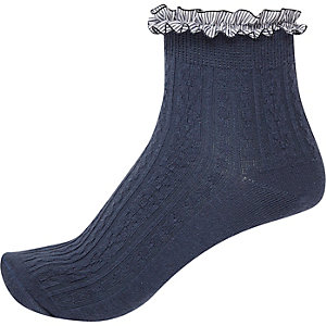 Blue cable knit frilly socks