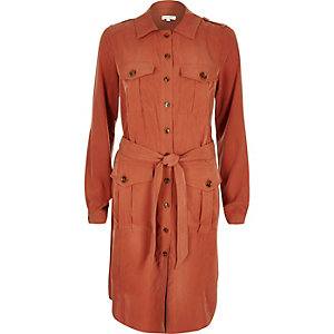 Rust military shirt dress