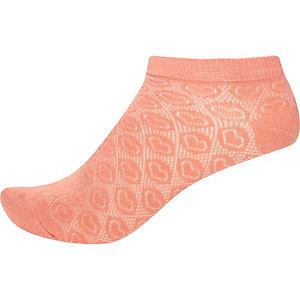 Peach heart sneaker socks