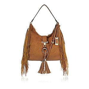 Brown fringed slouchy handbag