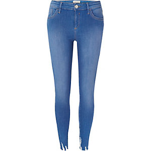 Bright blue raw hem Amelie super skinny jeans