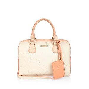 Grey pink floral embossed bowler handbag