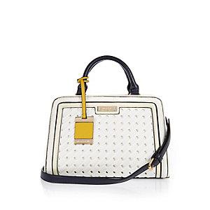 White woven small tote handbag