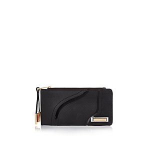 Black slim zip top purse