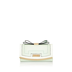Light green bow top purse