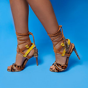 RI Studio brown leather strappy heel sandals