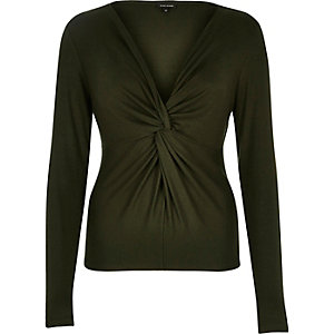 Khaki knot front long sleeve top