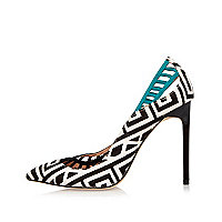 Black zebra print lattice panel court heels
