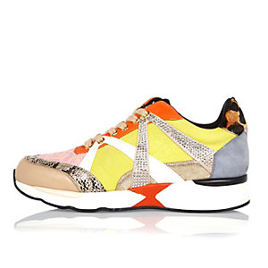 Beige print leather and suede sneakers