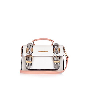 White snake print satchel handbag