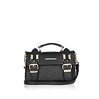 Black mini embossed satchel handbag