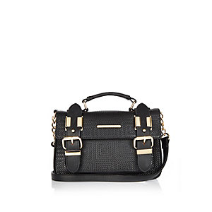Black mini embossed satchel handbag