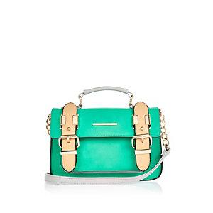 Green faux suede mini satchel bag