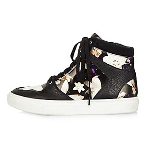 Black leather floral print high top trainers