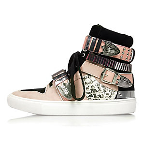 Pink leather buckle high top sneakers