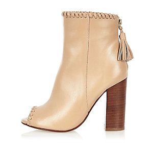 Beige leather whipstitch heeled shoe boots