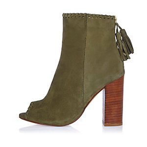 Khaki suede peep toe shoe boot