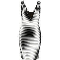 Black stripe bodycon mini dress