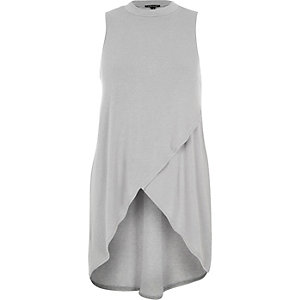 Grey knitted wrap front sleeveless top