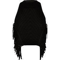 Black knitted fringed halter neck top