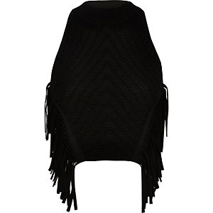 Black knitted fringed halter neck top