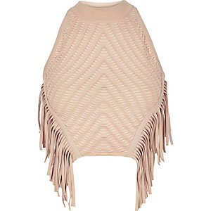 Light pink knitted fringed halter neck top
