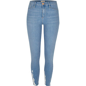 Light blue wash chewed hem Molly jeggings