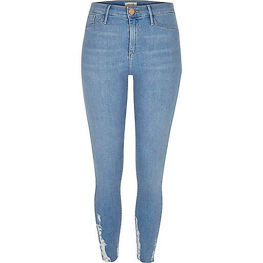Molly – Hellblaue Jeggings mit Saum im Used-Look