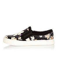 Black floral print slip on plimsolls