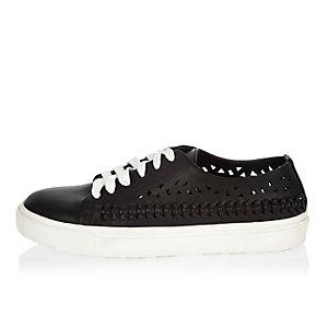 Black laser cut sneakers